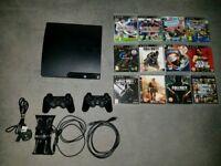 Playstation 3 slim 320 gb 2 controllers games