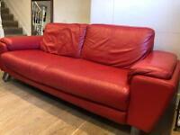 Red leather Italian Sofa