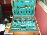 Vintage 100 piece Thailand (Siam) Cutlery Set, Bronze flatware.
