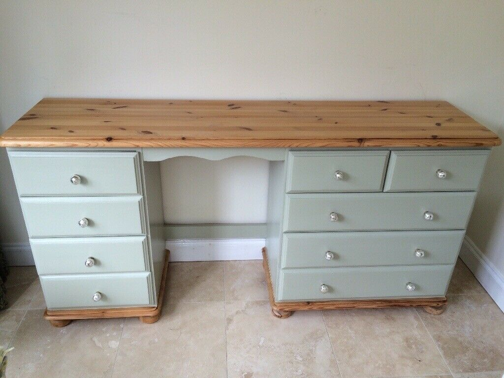Sage Green And Pine Upcycled Dressing Table Desk Drawer Unit With Matching Side