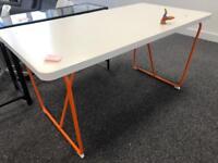 White & orange desk / dining table