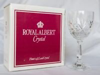 8 Boxed Vintage Royal Albert Crystal White Wine Glasses (Boxed)