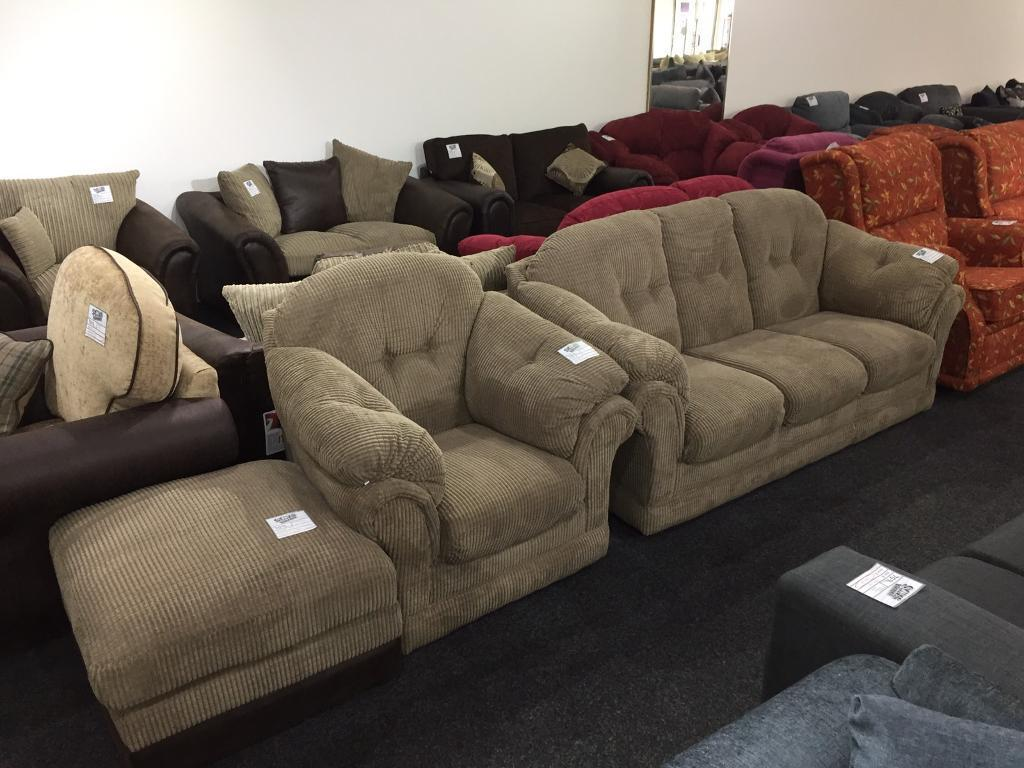 3 seater sofa armchair and pouffee. Brand new