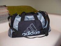 Adidas black and silver grey sports bag