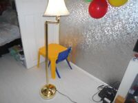 Tall Floor Standing Lamp Gold Brass With Lampshade