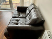 2 seater brown leather sofa - good condition