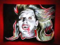 Lost boys vampire painting acrylic art portrait 80s A3