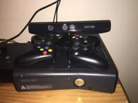 X box 360 with Kinect sensor and 2 controllers
