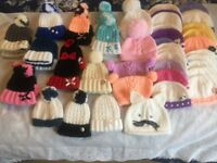 Job Lot New Hand Knitted Baby Hats & bootees & Hairbands Perfect For Car Boot Sale