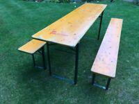 ORIGINAL GERMAN BEER KELLER TABLE & BENCH SET