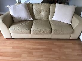 Cream leather sofa x 2 . 3 seater and 2 seater