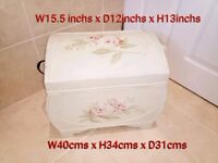 Shabby Chic Cream Storage Chest with Handles & Roses Design size on picture