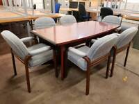 Large boardroom table and six chairs