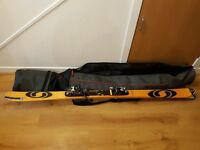 Mens Salomon Xscream Teneighty Skis, poles and bag