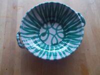 Vintage Austrian Gmundner Keramic serving bowl in green stripe 8 inch
