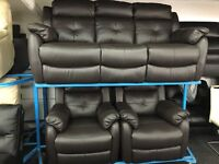 New/Ex Display LazyBoy Electric Leather 3 Seater Recliner + 2 x 1 Seater Electric Recliners