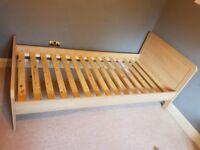 Mamas and Papas Rialto natural oak, single bed and mattress, used - FREE
