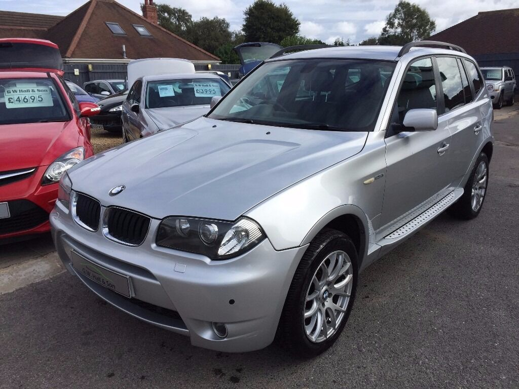 2005 55 bmw x3 3 0 d m sport diesel automatic suv 5 door silver high spec full leather interior. Black Bedroom Furniture Sets. Home Design Ideas