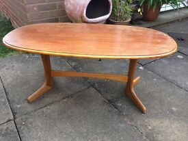 Oval real wooden coffee table - double pedestal - needs tlc - ideal for upcycle project