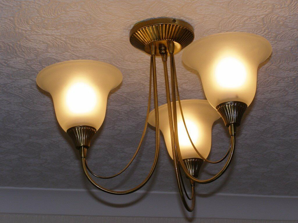 Glass Pendant Lights Gumtree : Vintage arm ceiling light with glass bell shades in