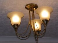 Vintage 3-arm ceiling light with glass bell shades