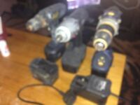 JOB LOT OF DRILLS AND TORQUE GUN, TO CLEAR