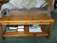Ducal PIne Coffee Table with shelf for books/magazines £25