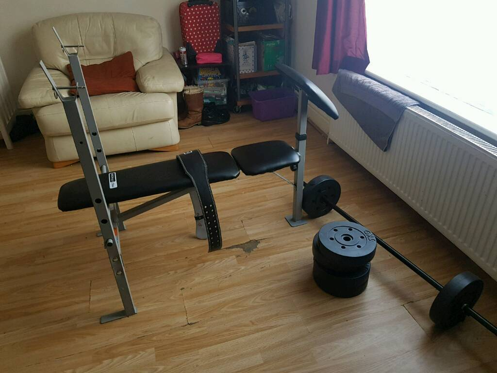 Weight bench and weights and belt