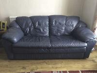 3 Seater Sofa in Dark Blue Leather