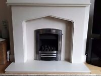 Limestone Fireplace and Hearth with fitted gas fire. Stylish design and in excellent condition.