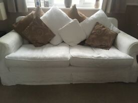 Cream fabric 2 and 3 seater sofas with removable covers