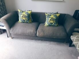 Beautiful grey vintage linen upholstered contemporary chesterfield 3 seater sofa
