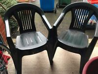 AS NEW Green plastic garden chairs x 4