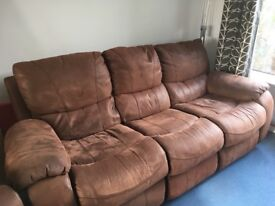 Reclining 3 seater sofa and reclining rocking chair. Very good condition.