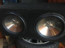 Clarion subs in box