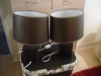 2 x faux leather bedside lamps with shades