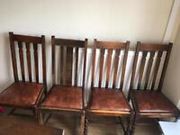 4 Solid Wood & Leather Chairs