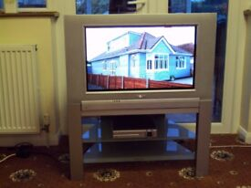 "Philips 27"" Flat Screen CRT TV, Matching Stand, Freeview Box & Remote controlss."