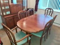 Twin Pedestal Extendable Dining Table and 6 Chairs