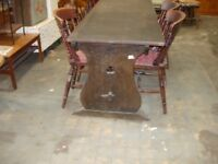 solid oak refectory table and 6 farm house chairs