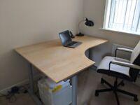 Ikea GALANT Corner Desk Left - Beech Veneer, Silver T-Legs, Bekant