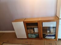 Oak Kitchen Glass unit £150 and wall unit £50