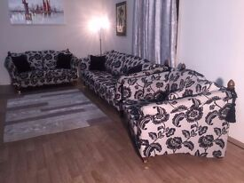 Windsor cream/black floral fabric 4 seater sofa, 2 seater sofa and love seat