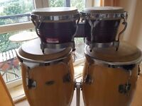 Set of conga drums with stand plus set if bongo's