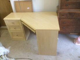 Corner light wood desk & set of drawers