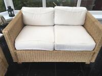 Cane conservatory furniture 2 seater sofa and chair.