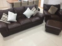 DFS Leather Sofa, Armchair & Foot stool in brown