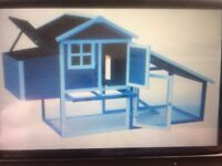 new chicken coop with run and four 6 weeks old chics ( can deliver)
