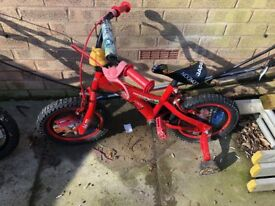 Child's Disney CARS bike with stabilisers