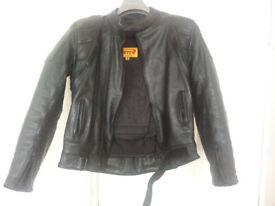 Black leather jacket, size M